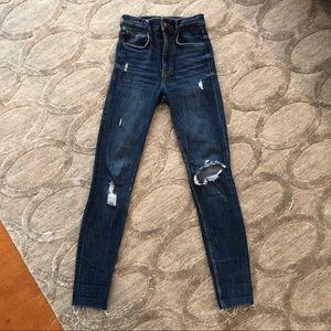 Zara Distressed High Waisted Skinny Jeans